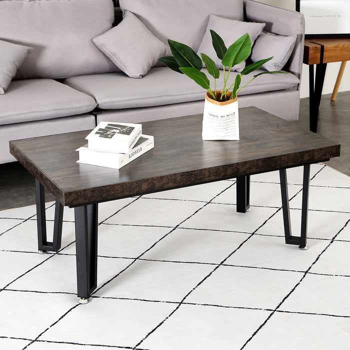 Mcombo Unique Coffee Table Mid-Century Rectangular Coffee Table for Living Room Modern Accent Cocktail Table Sofa Table 43.3'' L x 23.6'' 6090-TEE-BRONZE