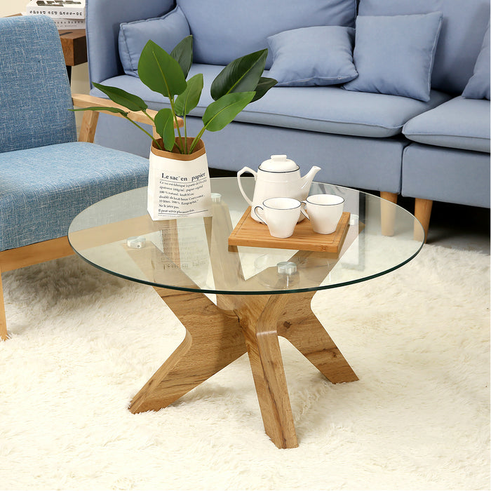 Mcombo Modern Mid-Century Glass Round Coffee Table for Living Room 32 inch Wood Frame 6090-TREE-CT
