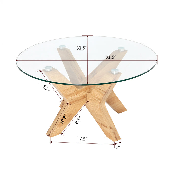 Mcombo Modern Mid Century Glass Round Coffee Table For Living Room 32 Inch Wood Frame 6090 Tree Ct