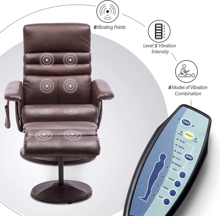 Mcombo Electric Faux Leather Recliner Chair and Ottoman Swivel Gaming Massage Chair with Wrapped Base Remote Control for Video Game Office Home Theater