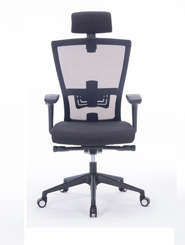 Mcombo Ergonomic Mesh Office Chair High-Back Computer Chair PU Leather Executive Task Desk Seat 8868, Black