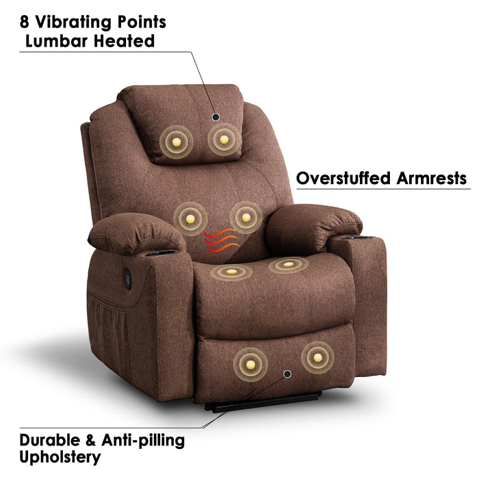 Mcombo Electric Power Lift Recliner Chair Sofa with Massage and Heat for Elderly, 3 Positions, 2 Side Pockets and Cup Holders, USB Ports, Fabric 7040