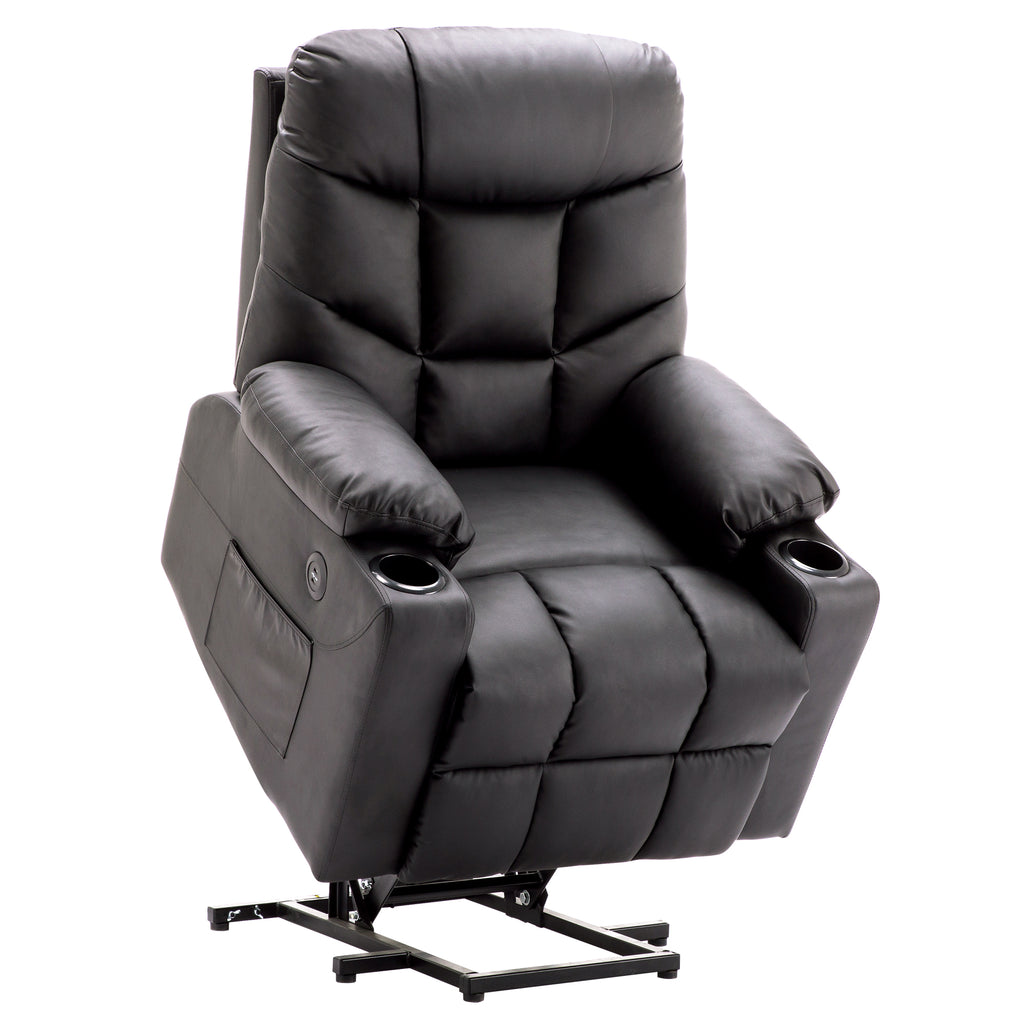 Amazing Mcombo Electric Power Lift Recliner Chair Sofa For Elderly 3 Positions 2 Side Pockets And Cup Holders Usb Ports Faux Leather 7288 Pabps2019 Chair Design Images Pabps2019Com
