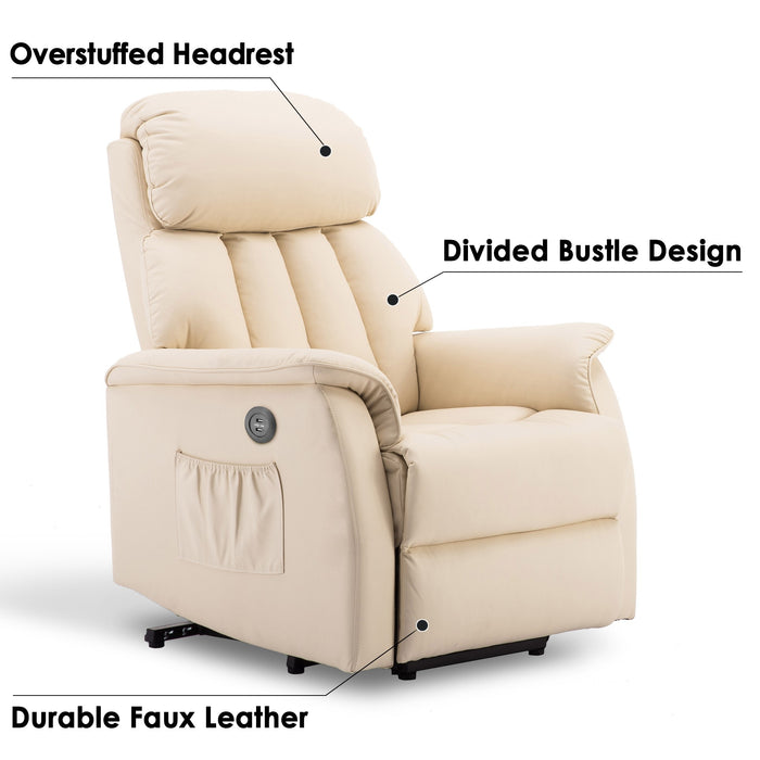 Mcombo Electric Power Lift Recliner Chair Sofa for Elderly, 3 Positions, 2 Side Pockets, USB Ports, Faux Leather 7299