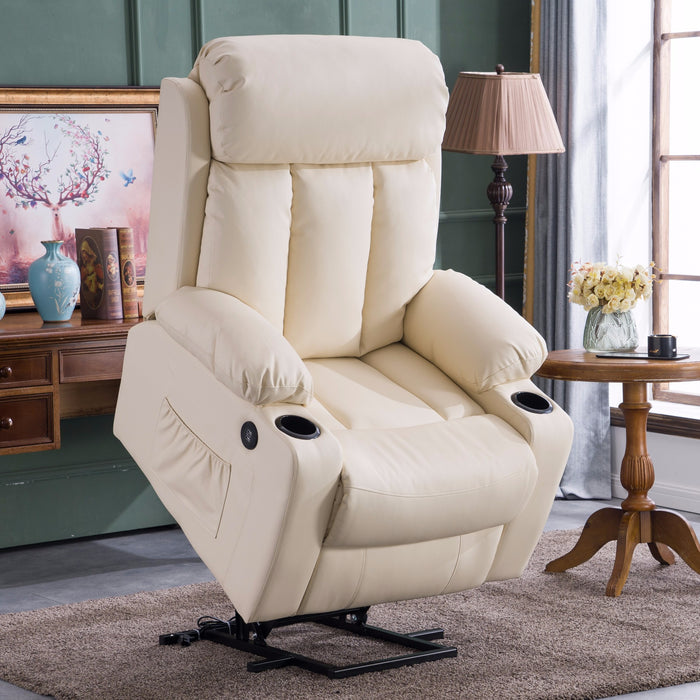 Enjoyable Mcombo Oversized Electric Power Lift Recliner Chair Sofa For Elderly Big And Tall People 3 Positions 2 Side Pockets And Cup Holders Usb Ports Faux Cjindustries Chair Design For Home Cjindustriesco