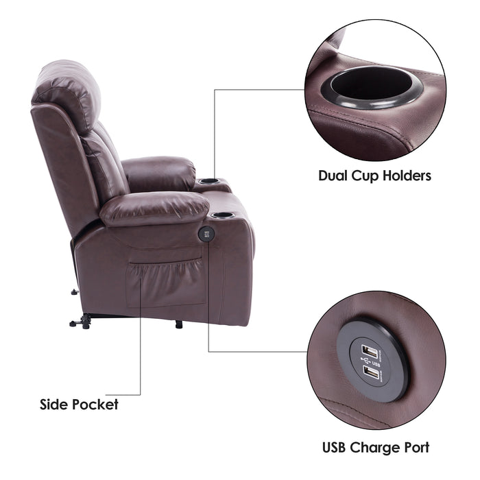 Phenomenal Mcombo Oversized Electric Power Lift Recliner Chair Sofa For Elderly Big And Tall People 3 Positions 2 Side Pockets And Cup Holders Usb Ports Faux Machost Co Dining Chair Design Ideas Machostcouk