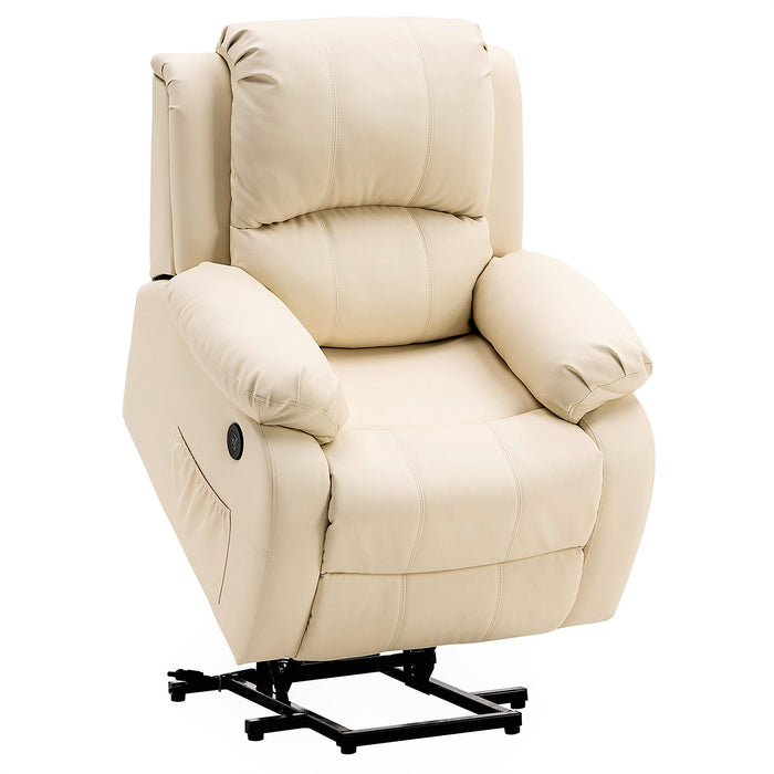 Mcombo Small Sized Electric Power Lift Recliner Chair Sofa with Massage and Heat for Small Elderly People Petite, 3 Positions, 2 Side Pockets, USB Ports, Faux Leather 7409