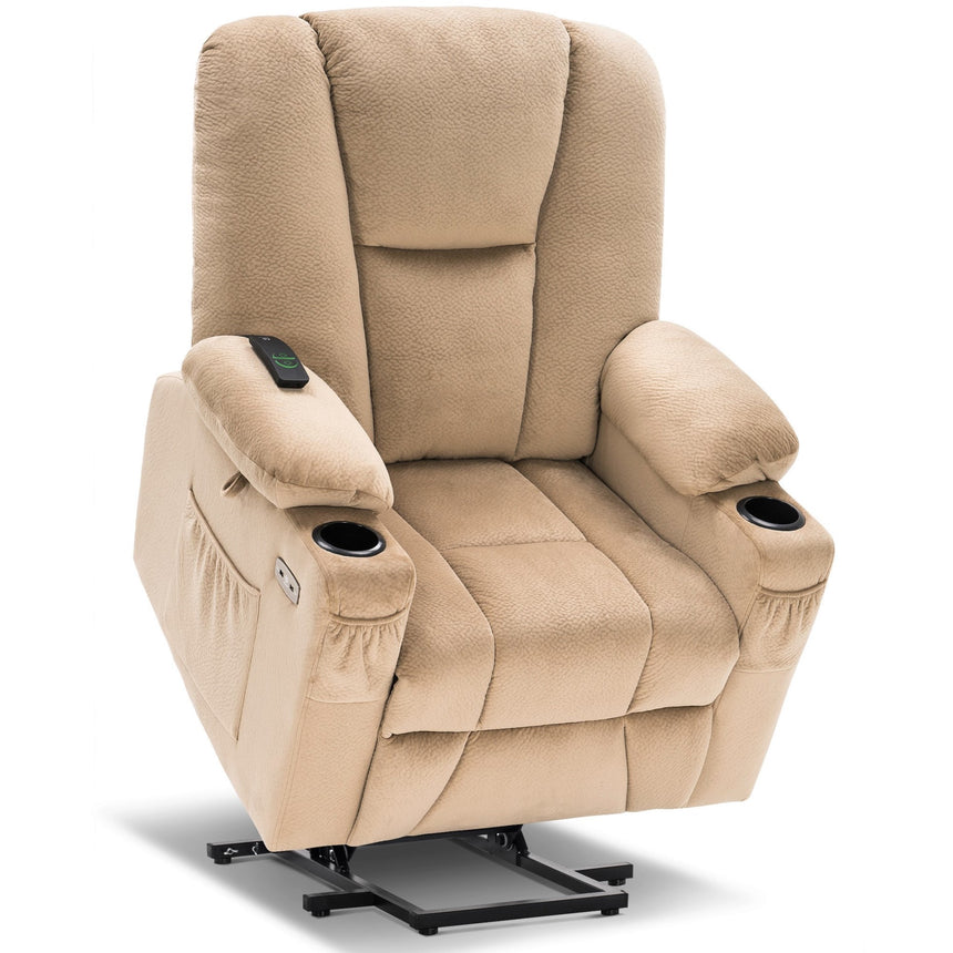 Mcombo Electric Power Lift Recliner Chair with Extended Footrest for Elderly People, 3 Positions, Hand Remote Control, Lumbar Pillow, 2 Cup Holders, USB Ports, 2 Side Pockets, Fabric 7507