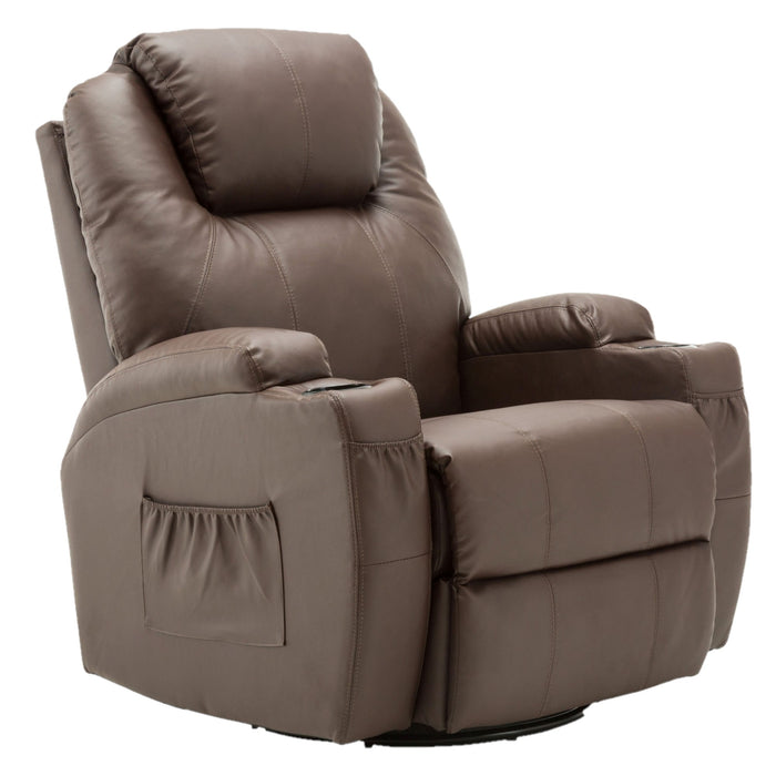 MCombo Massage Sofa Recliner Chair PU Leather Lounge Chair 360 Degree Swivel Vibration Heat w/ Remote Control 6160-7020