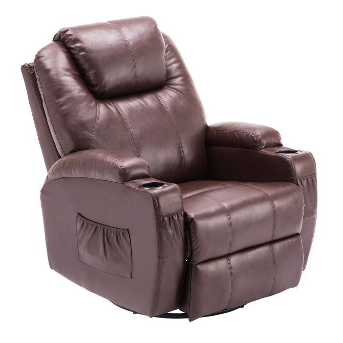 Mcombo Manual Swivel Rocker Recliner Chair with Massage and Heat, 2 Side Pockets, 2 Cup Holders, Durable Faux Leather 8031