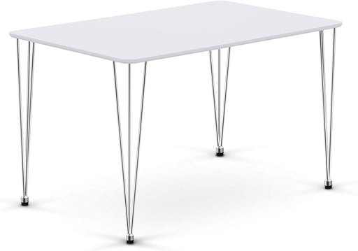 Mcombo Modern Wood White Dining Table for 4/6 Hairpin Computer Desk Kitchen Dining Room Table Leisure Coffee Table, 47.5 x 30 x 29inch 6090-Lilac-DT