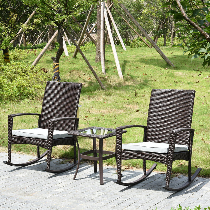Terrific Mcombo Patio Furniture Wicker Rocking Chair Set Rattan Bistro Porch Small Place Rocker Set With Glass Top Coffee Table And Cushions Lawn Deck Backyard Andrewgaddart Wooden Chair Designs For Living Room Andrewgaddartcom