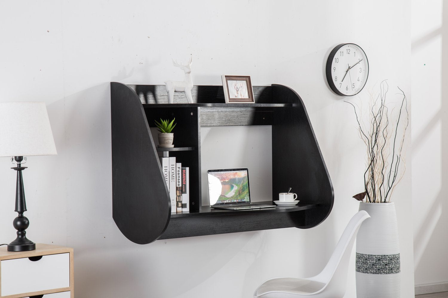 Mcombo Floating Wall Mount Laptop Stand Home Office Dorm Bedroom Computer Desk 1112