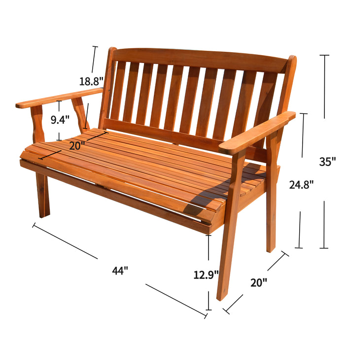Mcombo Patio Wood Garden Bench 2-Seat ,Outdoor Acacia Loveseat furniture, All-Weather Bench with Backrest and Armrest for Deck Porch Balcony Backyard, 705 lbs Capacity