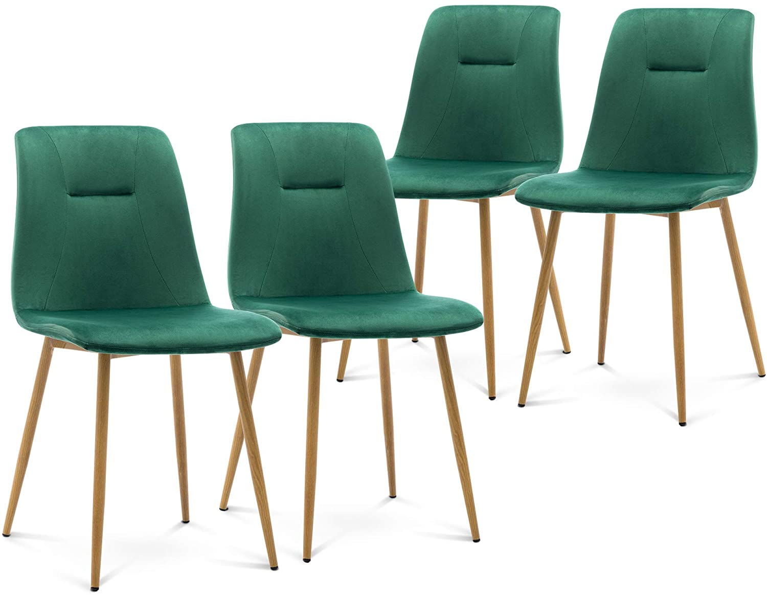Modern Living Room Accent Armless Chairs Set of 4 Velvet Dining Chairs Mid Century Upholstered Kitchen Chairs Side Chairs with Metal Legs for Dining Room Living Room Bedroom Kitchen