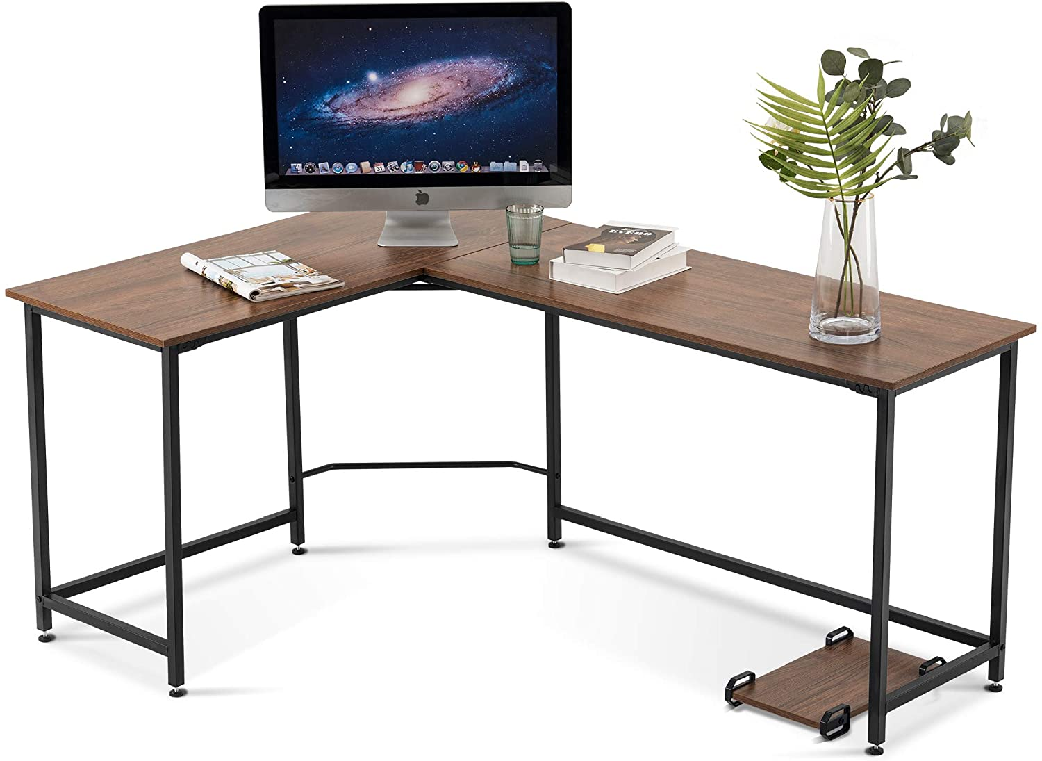 L Shaped Desk Corner Desk Gaming Desk PC Table Writing Workstation Simplest Modern Computer Desk for Home Office Small Space 6400