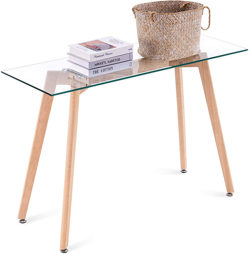 Narrow Glass Desk Modern Glass Console Table Glass Writing Desk Small Dining Table Small Computer Desk Entryway Table Narrow Desk Small Desks Glass Top Desk for Small Spaces Wooden Leg(16x43),6090-TAM-WT