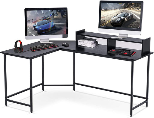 L-Shaped Corner Desk Computer Gaming Desk with Monitor Stand Riser,Home Office Writing Workstation, Black, 63 x 44 inch (Black),6090-home-6404BK