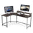 L-Shaped Corner Desk Computer Gaming Desk with Monitor Stand , Home Office Writing Workstation, Black, 63 x 44 inch (Black),6090-home-6404BK/BR/DB