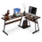 Office Desk Corner L Shaped Workstation Laptop Table with Keyboard Tray and CPU Stand,MFB Black/Brown 6090-7112BR