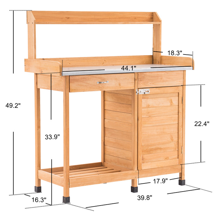 Mcombo Potting Bench Table ,Outdoor Garden Workstation with Metal Tabletop, Cabinet, Drawer ,Open Shelf (Fir Wood) 6059-0440