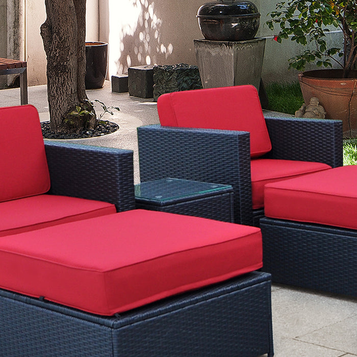 Mcombo Outdoor Patio Rattan Wicker Sofa Black Side Table Garden Sectional Set with desk 6085-1007ST
