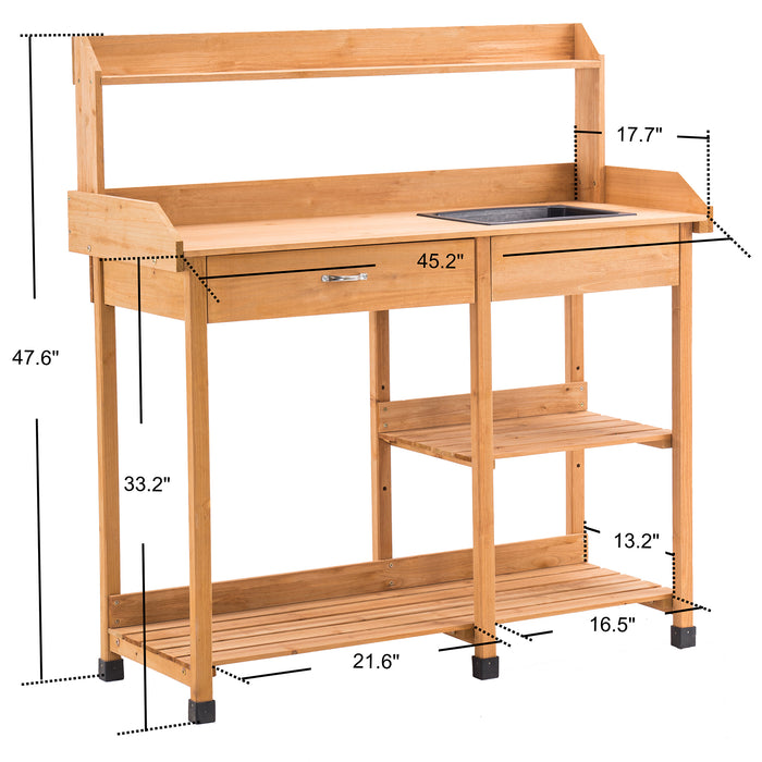Mcombo Potting Bench, Outdoor Garden Potting Table with Dry Sink, Drawer, Storage Shelves, Natural Wooden Work Station for Patio, Backyard and Porch 6059-0458