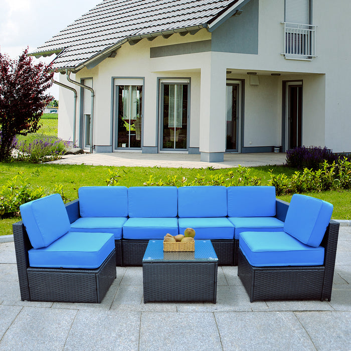 Mcombo Outdoor Patio Black Wicker Furniture Sectional Set All-Weather   Resin Rattan Chair Conversation Sofas with Water Resistant Cushion Covers 6085-S1007