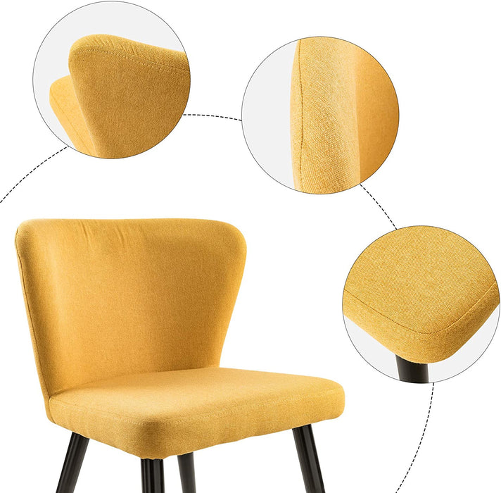 Modern Living Room Accent Armless Chairs Set of 2 Yellow Linen Fabric Mid Century Kitchen Chairs Boho Chairs Upholstered Side Chairs with Metal Legs for Dining Room Living Room Bedroom Kitchen