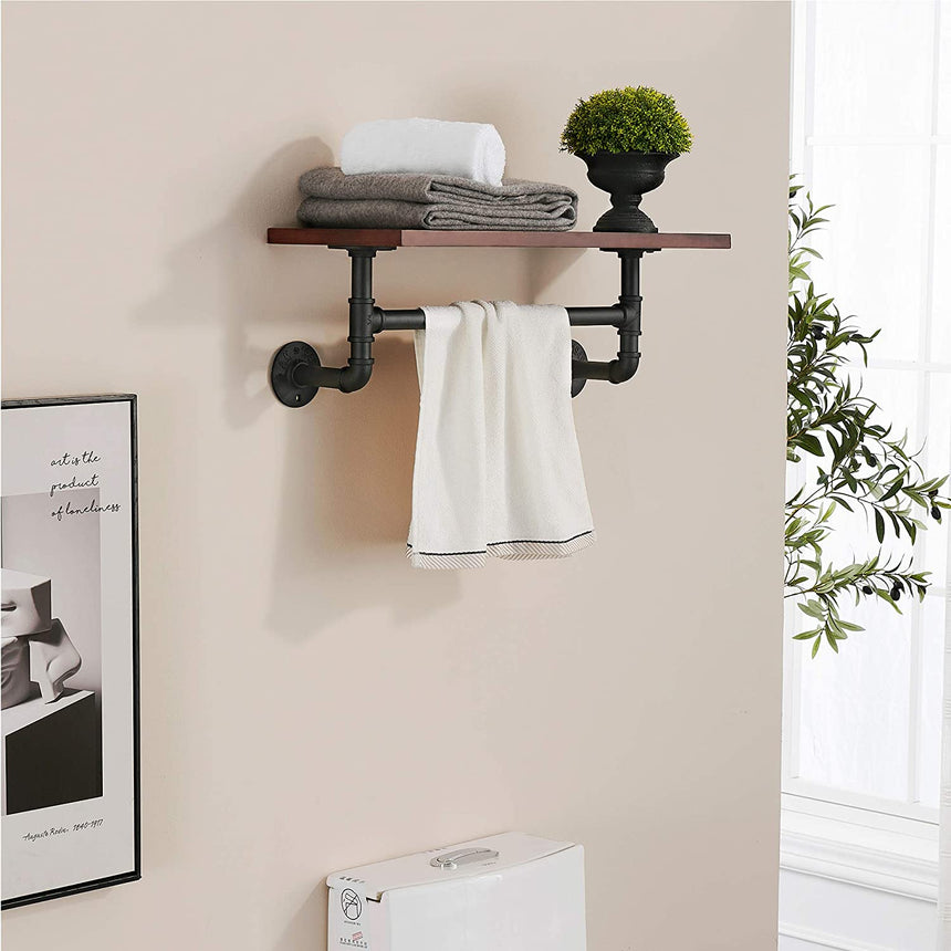 Ivinta Industrial Pipe Bathroom Wall Shelf, Rustic Wall Mounted Storage Shelves with Towel Bar for Bathroom Kitchen, Wall Organizer Towel Racks Over Toilet, Retro Brown us-6090-HG311/322/333BR