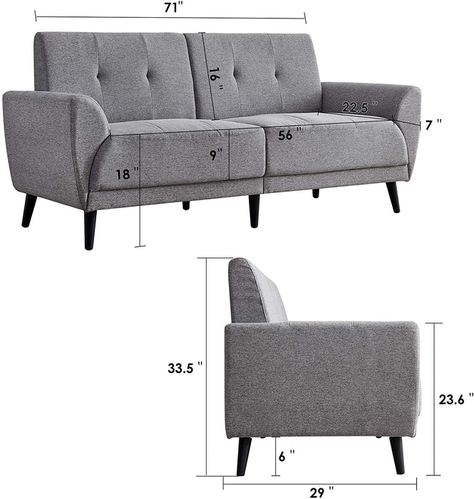 "Mcombo Living Room Couch Sofa Linen Fabric Tufted Mid-Century Modern Bench Loveseat Sofa, 71"" Small Sofa 6090-5120"