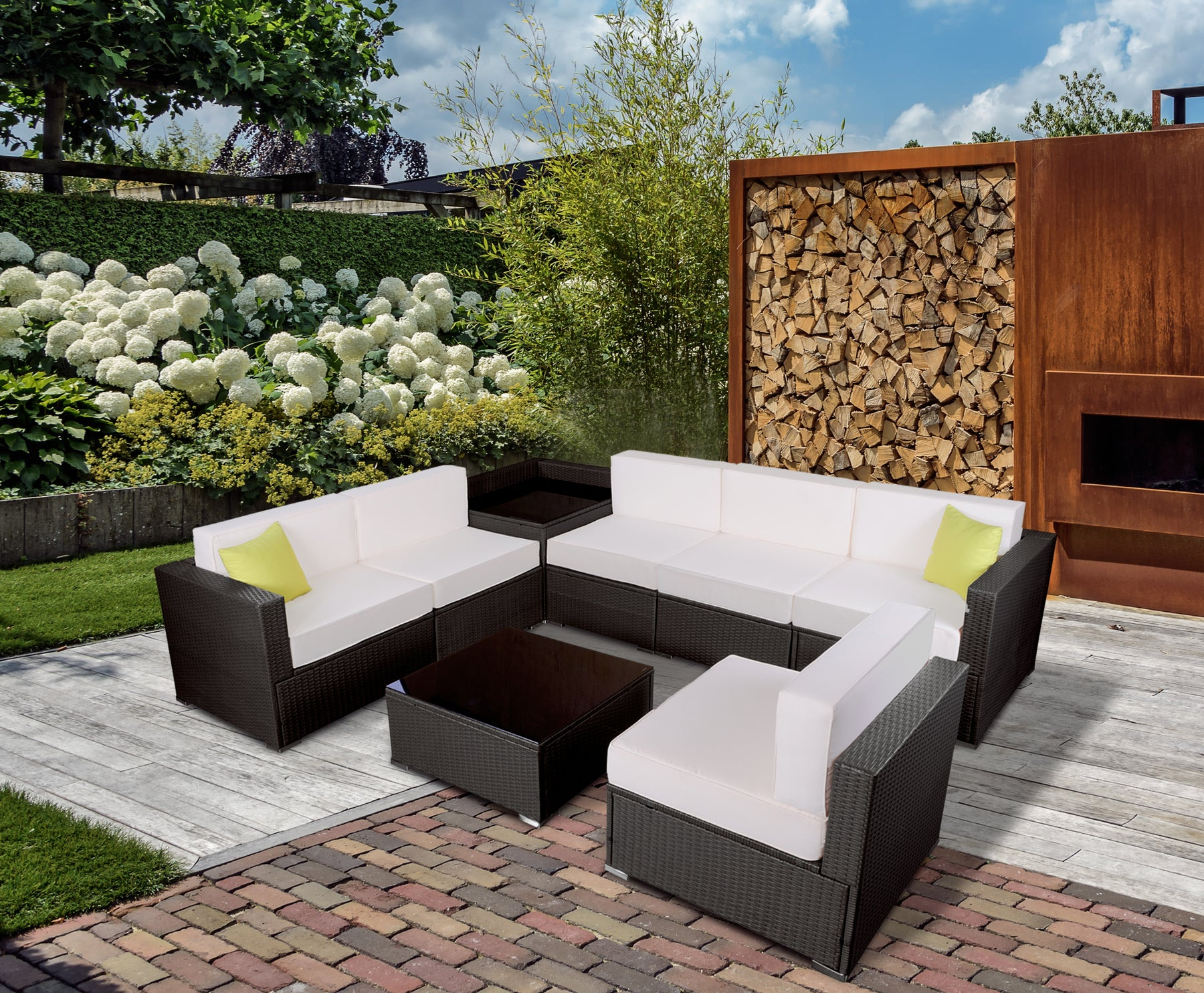 mcombo 8 PC Outdoor Furniture Patio Wicker Sofa Sectional With Cushion Seat 6082