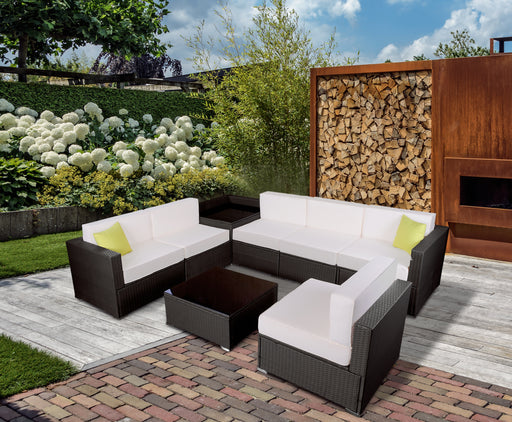 mcombo 8 PC Outdoor Furniture Patio Wicker Sofa Sectional With Cushion Seat 6082-8PC