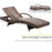 Mcombo  Wicker Lounge Chaise Patio Outdoor Adjustable Chair Furniture Brown Resin Rattan Reclining Cushioned Bed with 300LB Weight Capacity 6082-TYBR-EY