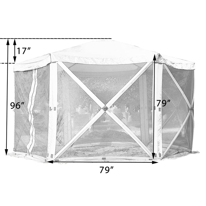 Mcombo Gazebo Tent Pop-Up Portable 6-Sided Hub Durable Screen Tent (6-8 Person) 6052-1024BR-6PC