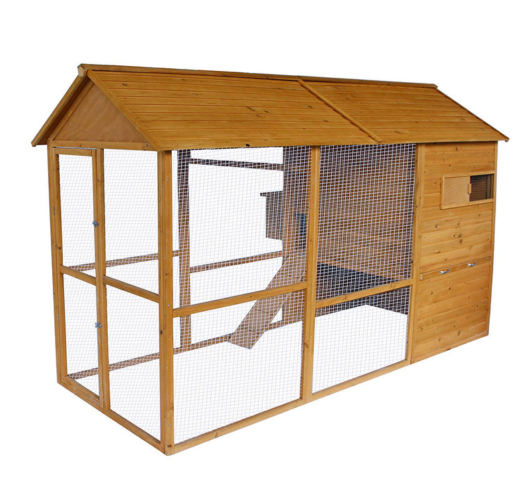 Lovupet 9.1ft Wooden Backyard Chicken Coop Hen House with Outdoor Run and Nesting Box 0388