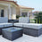 Mcombo Outdoor Patio Rattan Wicker Sofa Black Coffee Table Garden Sectional Set with desk 6082-5005ST-BK