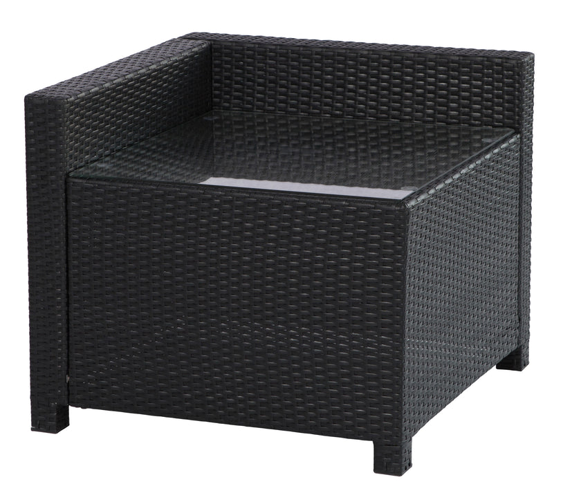MCombo Outdoor Patio Black Wicker Furniture Sectional Set All-Weather Resin Rattan Chair with Water Resistant Cushion Covers 6080-DIY-BL