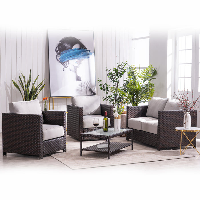 Mcombo Wicker Patio Sofa Furniture with Swivel Lounge Chair and Cushion , Coffee Table with Tempered Frosted Glass,4 Pieces Wicker Conversation Set ,Outdoor Loveseat Lawn Porch Couch 6082-9575BR