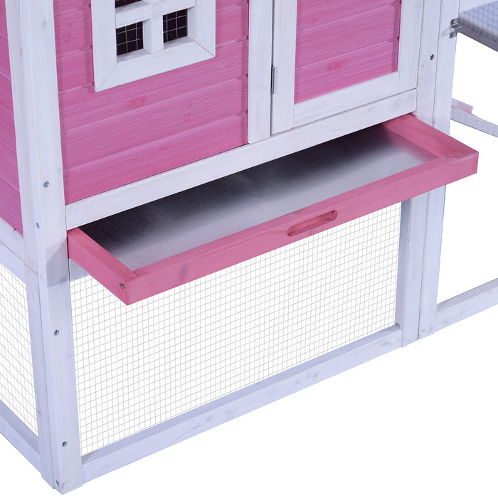Lovupet 70'' Deluxe Wood-Plastic Coop Backyard Nest Box Pet Cage Rabbit Hen Hutch 0326