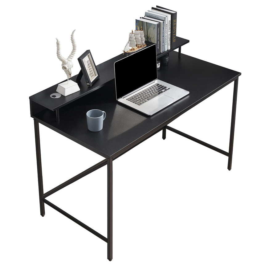 Ivinta Computer Desk for Home Office with Storage Shelf, 47'' Modern Study Writing Desk, Simple Black Gaming Desk for Small Space 6090-KM201BK