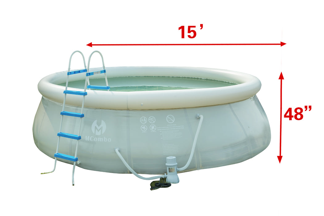 "15'x 48"" Above Ground Family Inflatable Swimming Pool Fast Set Pool w/ Filter Pump Ladder"