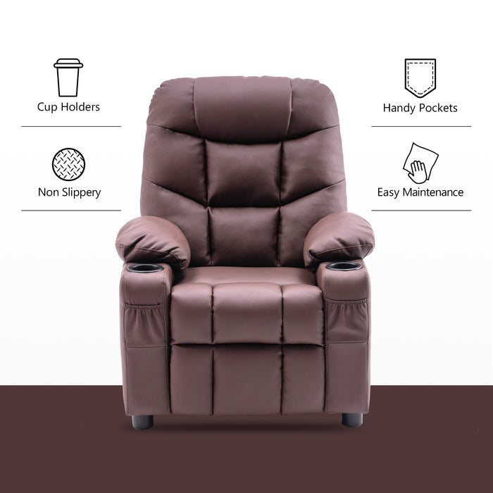 Mcombo Big Kids Recliner Chair with Cup Holders for Boys and Girls Room, 2 Side Pockets, 3+ Age Group,Velvet Fabric 7355/7366