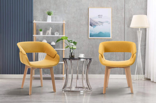 Modern Living Dining Room Accent Arm Chairs Set of 2 Linen Fabric Mid-Century Upholstered Side Seat Club Guest with Solid Wood Legs 6090-9122