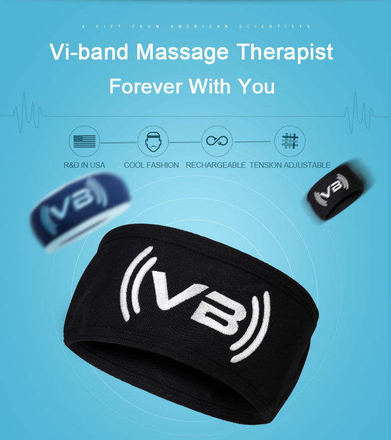 Vi-band Head Massager Electric Vibration Band Portable Black Fabric Headband