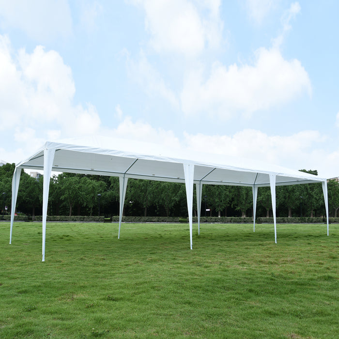 MCombo 10x30 Feet Outdoor Heavy Duty Canopy Tent Wedding Party Waterproof Gazebo Pavilion with Removable Sidewalls 6052-T1030W (10'x30'-8pc with Metal Connector)