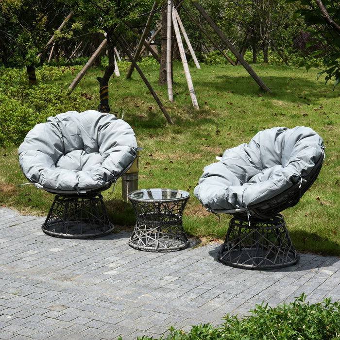 MCombo Patio Furniture Sectional Set Wicker Papasan Chair with Cushion and Frame Base Outdoor Indoor,Dorm for 2 Person 6081-PC03-EY