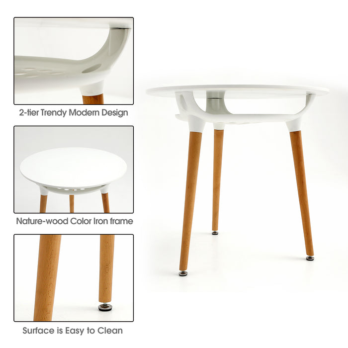 Modern Round White Dining Table Leisure Wood Tea Table Office Conference Pedestal Desk with Storage 6090-Bsic-1TR