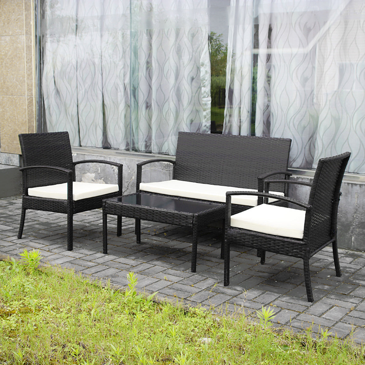 Picture of: Mcombo 4 Piece Aluminum Wicker Outdoor Patio Furniture Sectional Chair