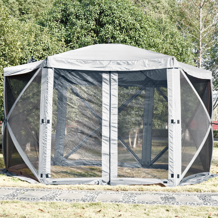 Mcombo Gazebo Tent Pop-Up Portable 6-Sided Hub Durable Screen Tent (6-8 Person) 6052-1024W-6PC